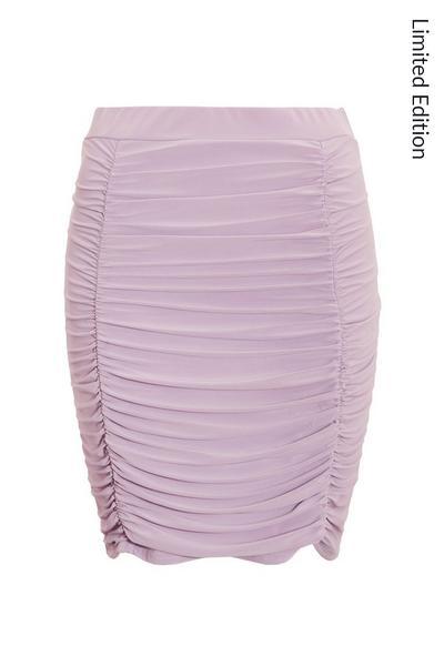 Lilac Ruched Mini Skirt